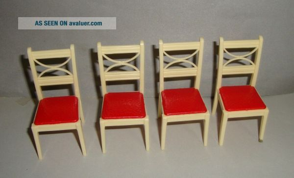 Vintage Renwal Red and White Chairs Kitchen Dining Room Dollhouse